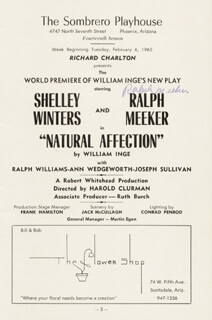 RALPH MEEKER - PROGRAM SIGNED CIRCA 1962