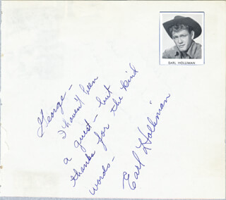 EARL HOLLIMAN - AUTOGRAPH NOTE SIGNED CO-SIGNED BY: PERRY COMO