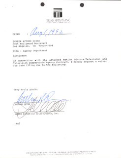 ANTHONY QUINN - DOCUMENT SIGNED 08/01/1992