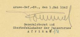 GENERAL ERWIN THE DESERT FOX ROMMEL - DOCUMENT SIGNED 05/01/1942