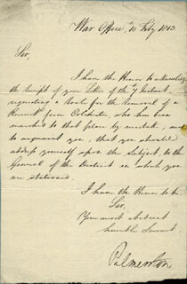 PRIME MINISTER HENRY JOHN TEMPLE (GREAT BRITAIN) - AUTOGRAPH LETTER SIGNED 02/10/1813