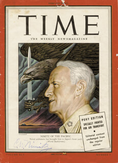 Autographs: ADMIRAL CHESTER W. NIMITZ - MAGAZINE COVER SIGNED