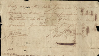 Autographs: ROBERT MORRIS - MANUSCRIPT PROMISSORY NOTE SIGNED 11/09/1796 CO-SIGNED BY: WILLIAM CRANCH