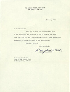 GENERAL DOUGLAS MACARTHUR - TYPED LETTER SIGNED 02/01/1962