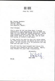 BOB HOPE - TYPED LETTER SIGNED 07/20/1955