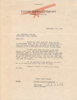 TED WELD - TYPED LETTER SIGNED 09/25/1933