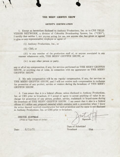 DUSTIN HOFFMAN - DOCUMENT SIGNED 06/11/1971