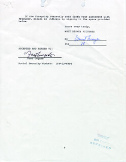 FRED GWYNNE - DOCUMENT FRAGMENT SIGNED