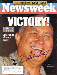 Autographs: GENERAL H. NORMAN SCHWARZKOPF - MAGAZINE COVER SIGNED