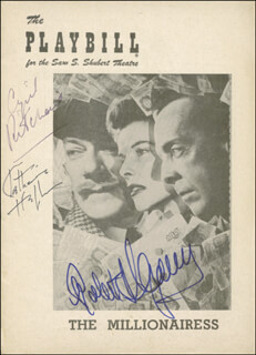 THE MILLIONAIRESS BROADWAY CAST - SHOW BILL SIGNED CIRCA 1952 CO-SIGNED BY: ROBERT HELPMANN, CYRIL RITCHARD, KATHARINE HEPBURN