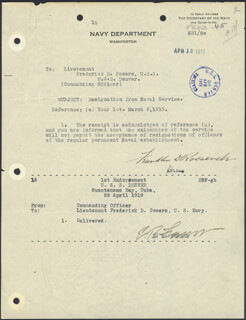 PRESIDENT FRANKLIN D. ROOSEVELT - DOCUMENT SIGNED 04/18/1919 CO-SIGNED BY: REAR ADMIRAL EDWARD B. FENNER