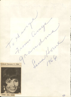 Autographs: LENA HORNE - AUTOGRAPH NOTE SIGNED 1966 CO-SIGNED BY: JOSEPH P. WRIGHT