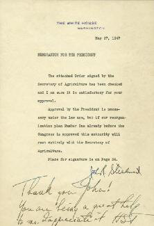 Autographs: PRESIDENT HARRY S TRUMAN - AUTOGRAPH NOTE SIGNED CIRCA 1947 CO-SIGNED BY: JOHN R. STEELMAN