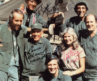 M*A*S*H TV CAST - AUTOGRAPHED SIGNED PHOTOGRAPH CO-SIGNED BY: WILLIAM CHRISTOPHER, JAMIE FARR, LORETTA SWIT, HARRY MORGAN