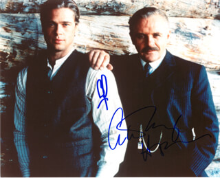 LEGENDS OF THE FALL - AUTOGRAPHED SIGNED PHOTOGRAPH CO-SIGNED BY: ANTHONY HOPKINS, BRAD PITT