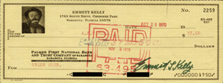 EMMETT KELLY SR. - AUTOGRAPHED SIGNED CHECK 10/29/1970