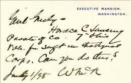Autographs: PRESIDENT WILLIAM McKINLEY - AUTOGRAPH NOTE ON WHITE HOUSE CARD SIGNED 07/01/1898