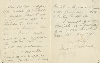 FIRST LADY FRANCES F. CLEVELAND - AUTOGRAPH LETTER SIGNED 03/03/1898