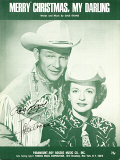 Autographs: ROY ROGERS - SHEET MUSIC SIGNED CO-SIGNED BY: DALE EVANS
