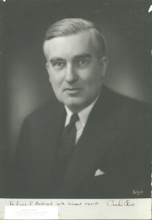 GOVERNOR CHARLES EDISON - AUTOGRAPHED INSCRIBED PHOTOGRAPH CIRCA 1940