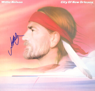 WILLIE NELSON - RECORD ALBUM COVER SIGNED