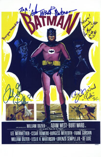 Autographs: BATMAN TV CAST - LOBBY CARD SIGNED CO-SIGNED BY: BURT WARD, LEE MERIWETHER, BURGESS MEREDITH, FRANK GORSHIN, ADAM WEST