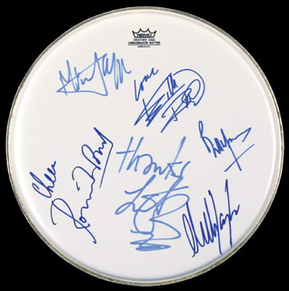 Autographs: THE ROLLING STONES - DRUMHEAD SIGNED CO-SIGNED BY: THE ROLLING STONES (RON WOOD), THE ROLLING STONES (BILL WYMAN), THE ROLLING STONES (CHARLIE WATTS), THE ROLLING STONES (KEITH RICHARDS), THE ROLLING STONES (MICK JAGGER), THE ROLLING STONES (MICK TAYLOR)