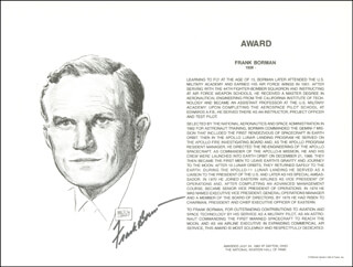Autographs: COLONEL FRANK BORMAN - BIOGRAPHY SIGNED
