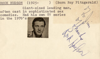 ROCK HUDSON - AUTOGRAPH NOTE SIGNED