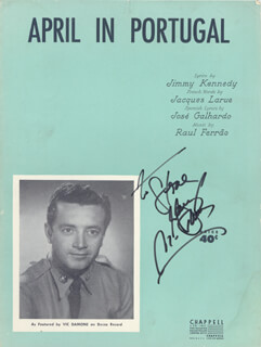 VIC DAMONE - INSCRIBED SHEET MUSIC SIGNED CIRCA 1953