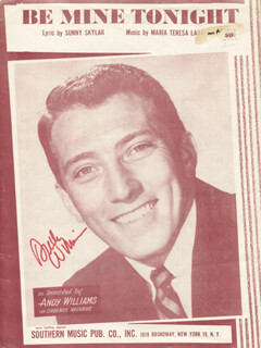 ANDY WILLIAMS - SHEET MUSIC SIGNED CIRCA 1951