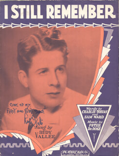 RUDY VALLEE - SHEET MUSIC SIGNED 1930