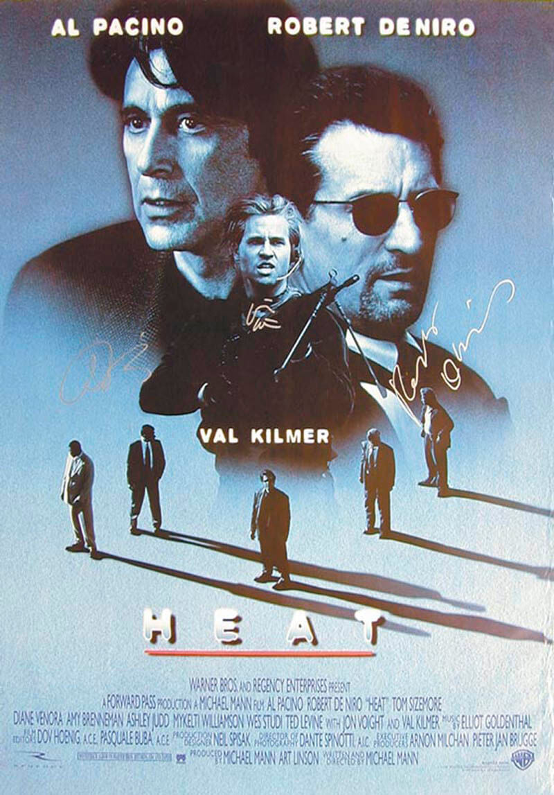 Autographs: HEAT MOVIE CAST - POSTER SIGNED CO-SIGNED BY: AL PACINO, ROBERT DENIRO, VAL KILMER