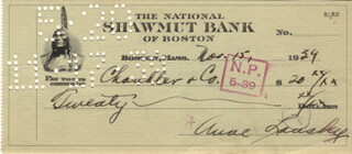 ANNE LANSKY - AUTOGRAPHED SIGNED CHECK 11/15/1939  - HFSID 254603