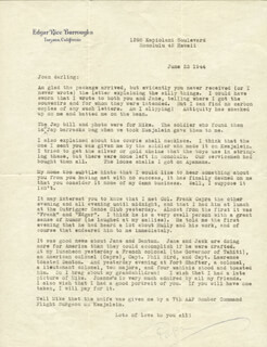EDGAR RICE BURROUGHS - TYPED LETTER SIGNED 06/23/1944
