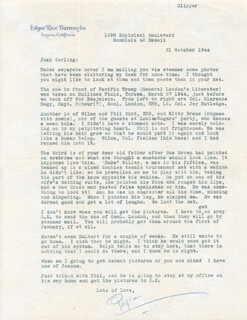 Autographs: EDGAR RICE BURROUGHS - TYPED LETTER SIGNED 10/21/1944