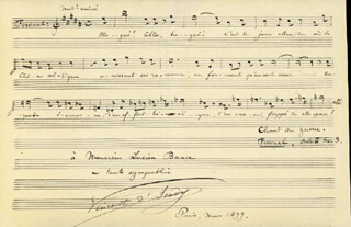 PAUL VINCENT D'INDY - AUTOGRAPH MUSICAL QUOTATION SIGNED 03/1899