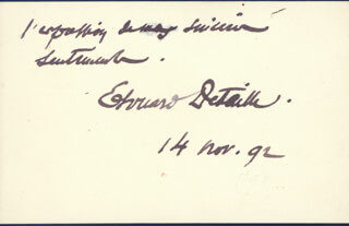 EDOUARD DETAILLE - AUTOGRAPH NOTE SIGNED 11/14/1892