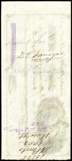 Autographs: ADMIRAL DAVID G. FARRAGUT - CHECK ENDORSED CIRCA 1866