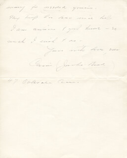 CARRIE JACOBS-BOND - AUTOGRAPH LETTER SIGNED 12/12/1933