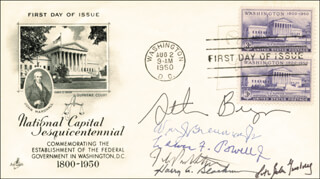 THE WILLIAM H. REHNQUIST COURT - FIRST DAY COVER SIGNED CO-SIGNED BY: ASSOCIATE JUSTICE LEWIS F. POWELL JR., ASSOCIATE JUSTICE RUTH BADER GINSBURG, ASSOCIATE JUSTICE WILLIAM J. BRENNAN JR., ASSOCIATE JUSTICE HARRY A. BLACKMUN, ASSOCIATE JUSTICE JOHN PAUL STEVENS, ASSOCIATE JUSTICE STEPHEN BREYER