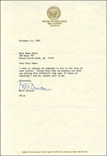 PRESIDENT WILLIAM J. BILL CLINTON - TYPED LETTER SIGNED 11/14/1985