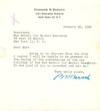 Autographs: BERNARD M. BARUCH - TYPED LETTER SIGNED 01/20/1956