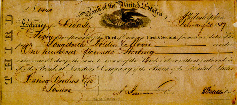 NICHOLAS BIDDLE - PROMISSORY NOTE SIGNED 02/20/1837