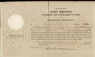 Autographs: JOHN BROOKS - DOCUMENT SIGNED 06/13/1822 CO-SIGNED BY: ALDEN BRADFORD