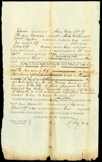 Autographs: HENRY CLAY - DOCUMENT SIGNED CIRCA 1799