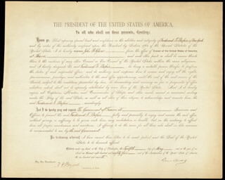 Autographs: PRESIDENT GROVER CLEVELAND - DOCUMENT SIGNED 05/12/1885 CO-SIGNED BY: THOMAS F. BAYARD SR.