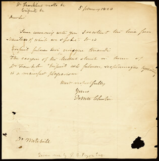 GOVERNOR DEWITT CLINTON - AUTOGRAPH LETTER SIGNED 02/05/1823