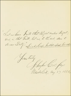 VICE PRESIDENT SCHUYLER COLFAX - AUTOGRAPH QUOTATION SIGNED 05/27/1881