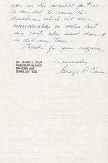 ENOLA GAY CREW (GEORGE R. CARON) - AUTOGRAPH LETTER SIGNED 07/21/1980